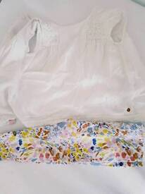 Baby girls marks & Spencer outfit blouse and floral leggings