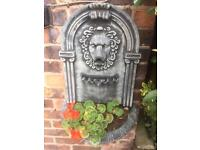 Ornate lion wall planter with plant