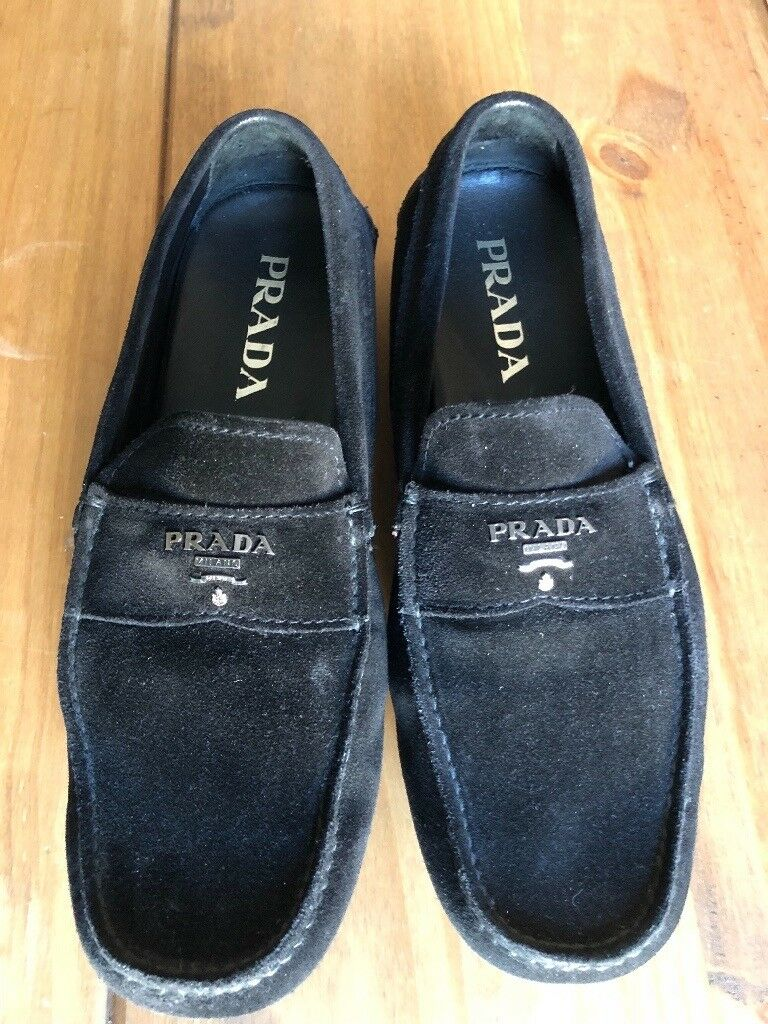 9f81e5246ff ... closeout genuine mens black suede prada loafers size 7 abdad fb74c