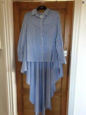 Womens Shirt Size 12 Striped Blue White Jovonna London Long Back Cotton NEW