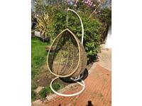 Large vintage retro hanging egg chair seat garden indoors mid century