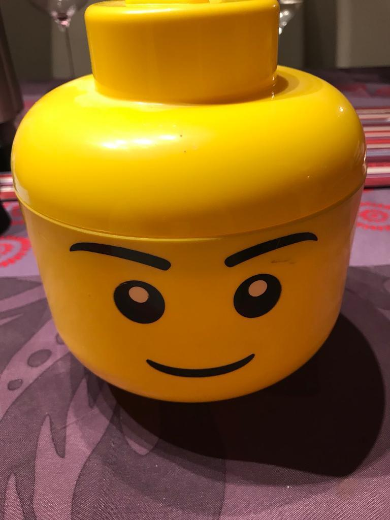 Lego head and storage boxes