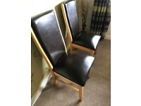 4 X solid oak and brown leather dining chairs