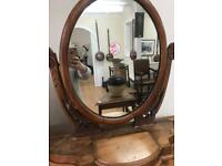 Old wooden dressing table mirror