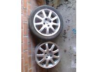 "Peugeot 206 16""Alloys x2 + 1 Tyre 2o5/45/16 great tread."