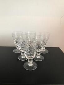 Set of 6 Beautiful Crystal Sherry Glasses