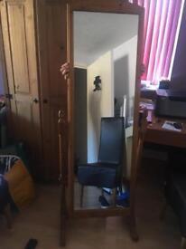 Beautiful freestanding wooden mirror