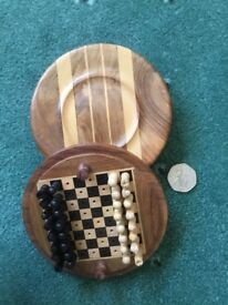 Handmade travellers chess and backgammon sets