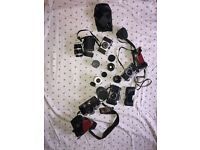 Job Lot Vintage Cameras Bundle with selection of Lenses inc Pentax and praktica