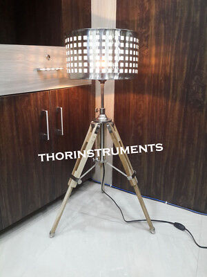 Designer Nautical wood Tripod Home Decorative Floor shade stand tripod lamp