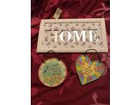 Brand new shabby chic HOME wall picture / mirror and two plaques .