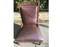 Strong Antique Leather Armchair