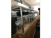 Very long heated Kitchen stainless steel gantry