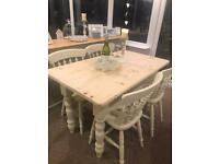 Shabby chic solid pine table & chairs
