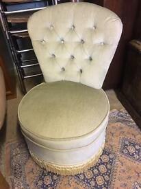 Vintage green upholstered bedroom chair vgc