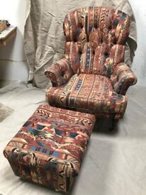 Vintage Liberty Kilim Pattern Button-Back Armchair and Footstool