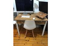 Solid Wood Shabby Chic Oak Refurbished Antique Desk Table with drawers
