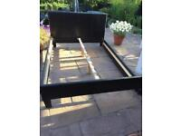 Brown leather look bed frame x2