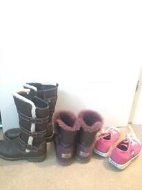 Size 3 ugg boots/Heelys and leather blox boots