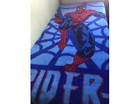 Kids SpiderMan blanket + SpiderMan wall sticker + Soft toy + Bin