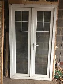 White pvc doors with Georgian bar £60
