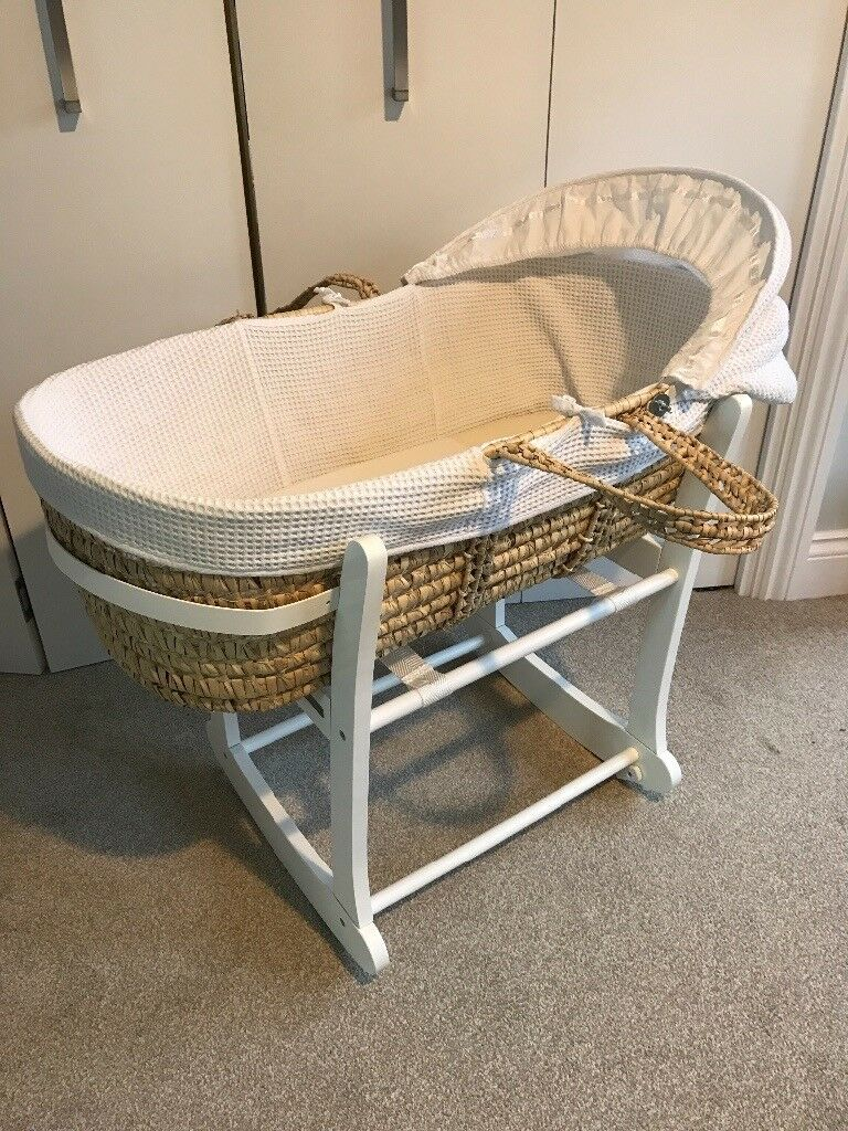 John Lewis Waffle Moses Basket and Stand
