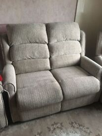 2 seater sofa and 2 reclining chairs