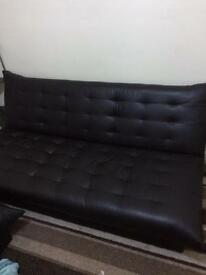Brown leather Corner sofa & bed