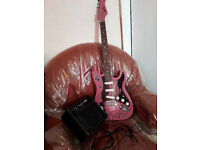 Jaxville Condemned To Rock Pink Electric Guitar with Amp and Guitar Cabel