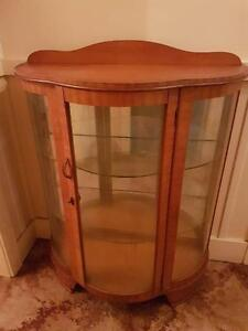 Antique/vintage timber bow front, half round china cabinet Windsor Hawkesbury Area Preview