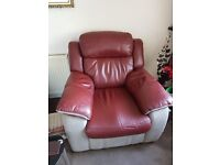 BARGIN - Two leather powered reclining armchairs only 2 months old.