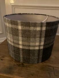 Grey tartan lampshade