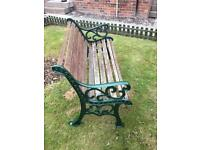 Bench with wrot iron ends