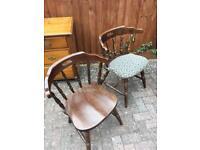 Two heavy oak kitchen chairs