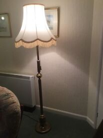 Solid brass floor lamp with shade