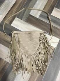 Women's real leather tassel bag
