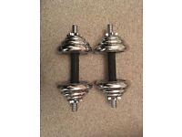 2 chrome York dumbbells 10 kg each