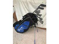 Set golf clubs and bag