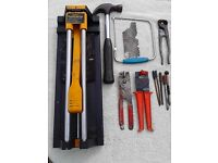 Tile cutter and stanley claw hammer