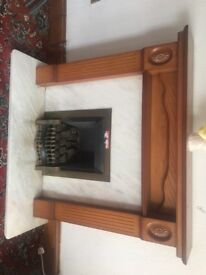 Oak Fireplace and Marble Hearth