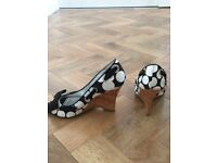 Dune Black and White Satin Spot Wedge Shoes with Bow Detail