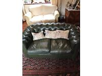 Chesterfield 2-seater dark olive green leather sofa (one of a pair), please see my other add.