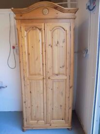 Beautiful Solid Pine Wardrobe With Carved Top