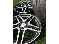 Mercedes Benz AMG twin-spoke 19 alloy wheels and tyres