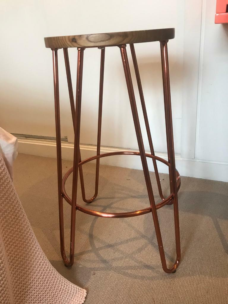Stool Bedside Table: Copper Toned Stool Or Bedside Table