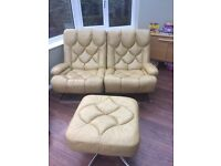 1970's Vintage yellow leather chairs & footstool