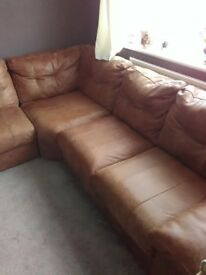 7 peace Real leather corner settee
