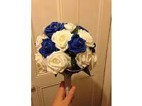 9 x wedding foam bouqets (handmade- royal blue)