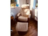 Leather swivel chair with foot stool