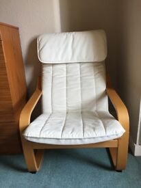 Ikea poang chair with ivory cover.